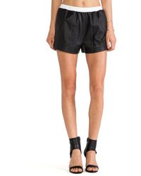 T By Alexander Wang Lamb Leather Shorts - Lyst