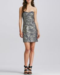 Milly Corsette Strapless Jacquard Dress 0 - Lyst