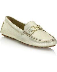 Ferragamo | Saba Metallic Leather Loafers | Lyst