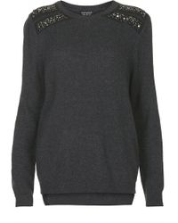 Topshop Womens Shoulder Embellished Jumper  Charcoal - Lyst