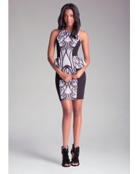 Bebe Print Peplum Midi Dress - Lyst