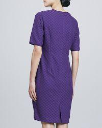 Bigio Collection - V-Neck Eyelet-Lace Shift Dress - Lyst