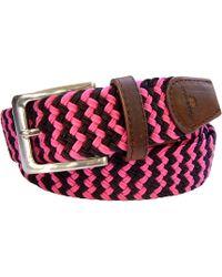 Tyler And Tyler - Zig Zag Woven Belt Pink Black - Lyst
