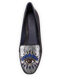 Kenzo Eye-embroidered Metallic Smoking Slipper - Lyst