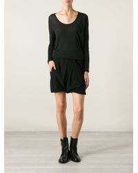 Rick Owens Black Draped Shorts - Lyst