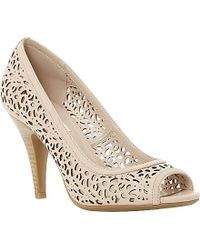 Dune Colette Laser-Cut Peep-Toe Leather Courts - For Women beige - Lyst
