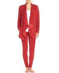 DKNY - Drape Front Stretch Fleece Cardigan & Leggings - Lyst