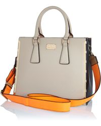 River Island Grey Contrast Panel Neon Strap Tote Bag - Lyst