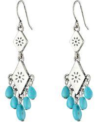 Lauren by Ralph Lauren Bar Harbor Small Etched Metal W Turquoise Beads Chandelier Earrings - Lyst