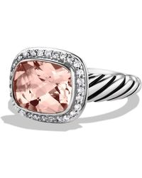 David Yurman - Noblesse Ring With Morganite & Diamonds - Lyst