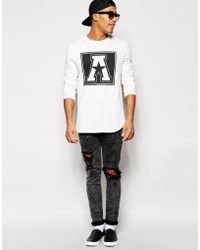 Asos Longline Long Sleeve T-Shirt With A Print In Textured Fabric - Lyst