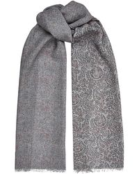 Harrods - Paisley and Herringbone Wool Scarf - Lyst