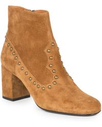 Saint Laurent Studded Suede Ankle Boots - Lyst