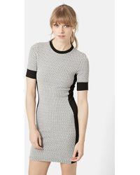 Topshop Geometric Print Body-Con Dress gray - Lyst