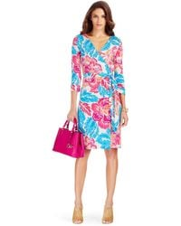Diane von Furstenberg New Julian Two Silk Jersey Wrap Dress floral - Lyst