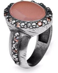 Platadepalo - Silver And Zircon Ring With Pink Chalcedony - Lyst
