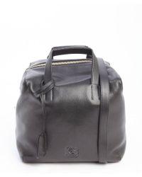 Loewe Black Leather Convertible Top Handle Bag - Lyst