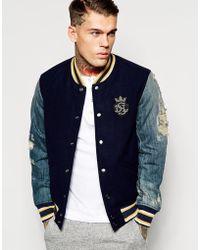 Diesel Wool Varsity Jacket J-Petro Distressed Denim Sleeves - Lyst