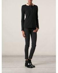 Burberry Brit Ruffled Neck Polo Shirt - Lyst