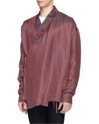 Haider Ackermann Herringbone Linen-Silk Shirt - Lyst