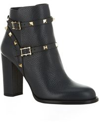 Valentino Rockstud Block Heel Ankle Boot - Lyst