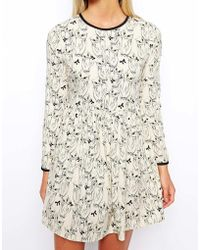 Asos Exclusive Skater Dress in Owl Print - Lyst