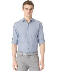 Calvin Klein Modern Fit Seersucker Micro Check Sport Shirt - Lyst