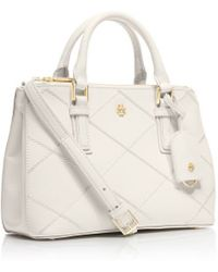 Tory Burch Robinson Stitched Micro Double-Zip Tote - Lyst