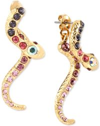 Betsey Johnson | Gold-tone Purple And Pink Pavé Snake Front And Back Earrings | Lyst