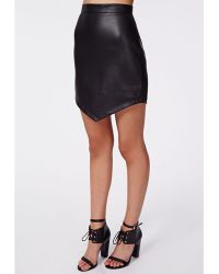 Missguided Odele Faux Leather Asymmetric Skirt Black - Lyst