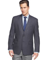 Calvin Klein Navy Mini-checked Big and Tall Sport Coat - Lyst