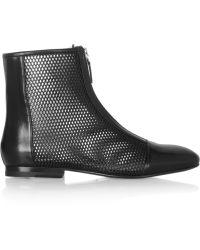Jil Sander Perforated Leather Ankle Boots - Lyst