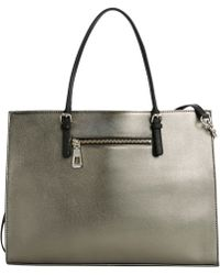 Calvin Klein Silver Leather Satchel - Lyst
