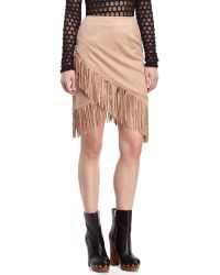 Honey Punch - Faux Suede Fringe Skirt - Lyst