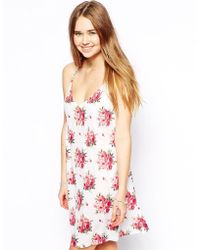 Asos Swing Dress in Pretty Rose Print - Lyst