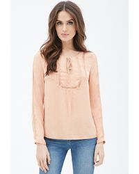 Love 21 Lace-Trimmed Peasant Top - Lyst