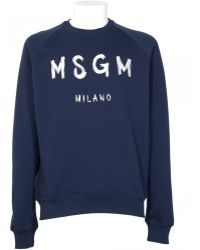 MSGM Blue Cotton Sweatshirt With Embroidery Logo blue - Lyst