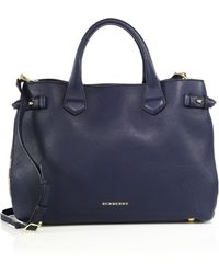 Burberry | Banner Medium Leather & House Check Satchel | Lyst