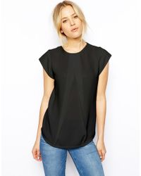 Asos Top With Origami Pleat Detail And Jersey Back black - Lyst