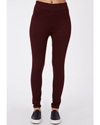 Missguided Lori High Waisted Dogtooth Leggings Burgundy - Lyst