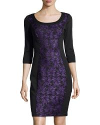 Jax Lace-paneled Scuba Dress - Lyst
