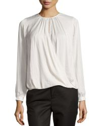 Vince Cross-Front Draped Blouse - Lyst