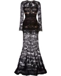 Elie Saab Black Lace Column Gown - Lyst