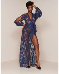 Agent Provocateur - Palmina Dressing Gown Navy - Lyst