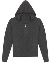 agnès b. - Dark Grey Cashmere Hoodie Zipped Cardigan - Lyst