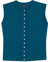 agnès b. - Blue Sleeveless Snap Cardigan - Lyst