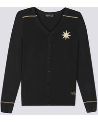 agnès b. - Black Silk And Cotton Star Embroidered Cardigan - Lyst