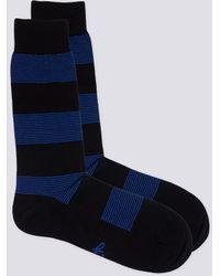 agnès b. - Black And Blue Stripes Simon Socks - Lyst