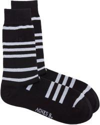 agnès b. - Black Stripes Socks - Lyst
