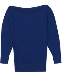agnès b. - Blue Openwork Knit Holly Jumper - Lyst